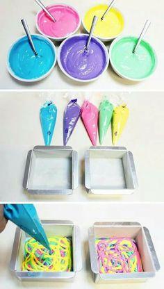 Dye vanilla cake batter to make swirly yumm yumms.