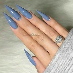 47 Ideas Nails Acrylic Coffin Purple Grey You are in the right place about beautiful nails Here we offer you the most beautiful pictures about Acrylic Nails Stiletto, Best Acrylic Nails, Purple Stiletto Nails, Stiletto Nail Designs, Purple Chrome Nails, Periwinkle Nails, Blue Coffin Nails, Pointed Nails, Gray Nails