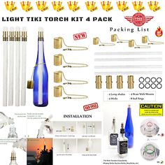 Wine Bottle Tiki Torch Kit Oil Lamps Tabletop Lantern Garden Nights Outdoors 4-P | eBay