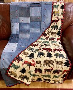 Made to last like Grandma used to make. Flannel Quilts, Plaid Quilt, Tie Quilt, Denim Quilts, Longarm Quilting, Quilting Projects, Quilting Designs, Sewing Projects, Rustic Quilts