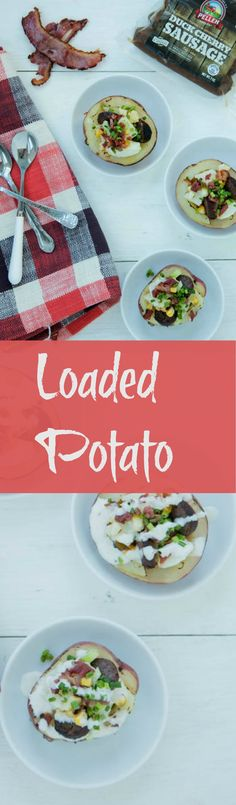 Load up your Dad's potato with kosher duck bacon and sausage in these Loaded Baked Potatoes