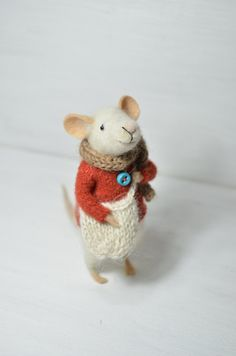Little Traveler Mouse - unique - needle felted ornament animal, felting dreams made to order. $68.00, via Etsy.  Adorable.