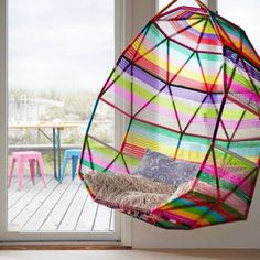 rainbow hanging chair, so cool!!