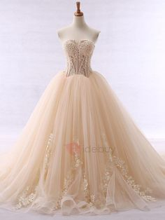 #AdoreWe #TideBuy TideBuy Fancy Sweetheart Appliques Beaded Ball Gown Color Wedding Dress - AdoreWe.com