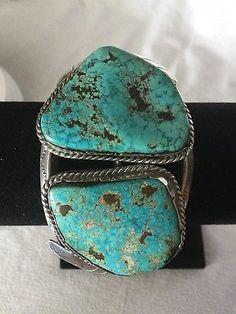 BIG-Old-Pawn-Vintage-Navajo-HUGE-Heavy-TURQUOISE-Sterling-Bracelet