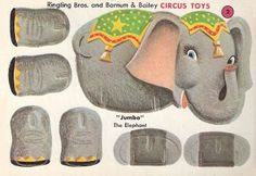 #circus Jumbo The Elephant - #diy A blog with lots of vintage cut out & make cards.