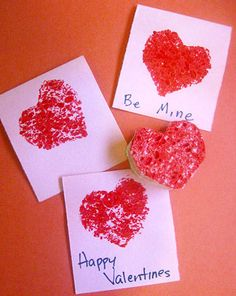 In this activity, kids use sponges to make textured stamps for homemade, artistic Valentine's Day cards.