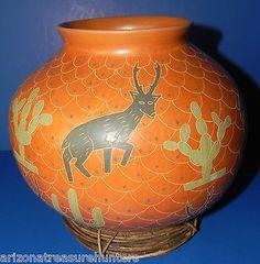 Pronghorn Antelope, Saguaro Cactus on Carlos Mora, Mata Ortiz Polychrome Pot 8x9