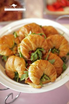 Bite-size croissant sandwiches for a laid-back reception (Daniel Taylor Photography)