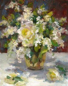 White Rose,Oil 14 inches x 11 inches  (c) Oksana V. Johnson