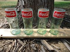 How cool!  Juice Glasses made from Upcycled Coca Cola bottles by ConversationGlass, $30.00 for a set of 4