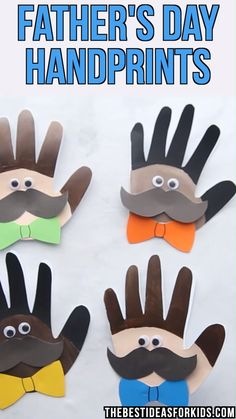 - such a cute Father's day craft for kids! This Father's Day handprint craft comes with a free printable template to make a card. Turn handprints into an adorable Father's Day handprint card. Daycare Crafts, Toddler Crafts, Preschool Crafts, Diy Crafts For Kids, Art For Kids, Kids Diy, 4 Kids, Children, Kids Fathers Day Crafts