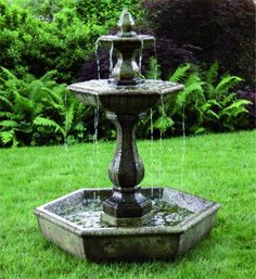 Two Tier Boca Hexagon Garden Fountain on Pool