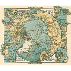 Vintage map of the north pole