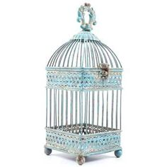 Small Antique Blue Square Iron Bird Cage