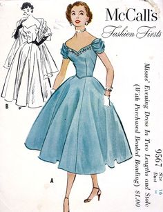McCall's Fashion Firsts 9567; ©1953; Misses' Evening Dress in Two Lengths and Stole. #vintage #sewing #pattern #1950s