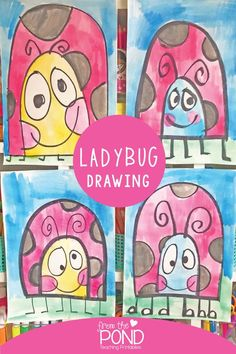 Great Pic directed drawing for kids Thoughts Supply youngsters twenty pieces of cardstock as well as a common box connected with colors, as there are a good chance Grade 1 Art, First Grade Art, Kindergarten Art Projects, School Art Projects, Kindergarten Drawing, Drawing For Kids, Art For Kids, Pond Drawing, Lady Bug Drawing