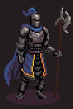 Knight : PixelArt Pixel Art Anime, Piskel Art, 8 Bit Art, Pixel Art Games, Video X, Game Character Design, Dark Souls, Art Tutorials, Game Art