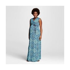 Maternity Sleeveless Surplice Printed Maxi Dress Navy/Seafoam  - Ma... ($30) ❤ liked on Polyvore featuring maternity