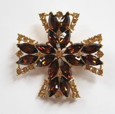 Maltese Cross Pendant Brooch Brown and Topaz by Elsewind on Etsy, $30.00