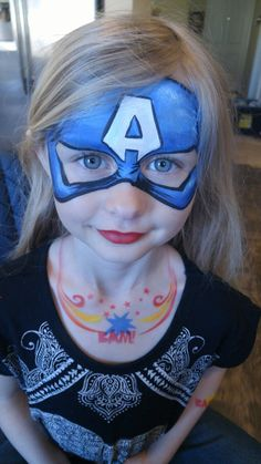 Captain America face paint for girls with airbrushed necklace by Www.JenniferLehrBodyArt.com