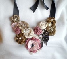 Blooming flower bib necklace by sheerserendipity on Etsy, $55.00