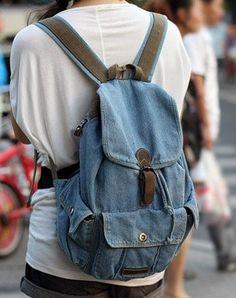 denim backpacks for fashion girls.  #girls #backpacks #fashion www.loveitsomuch.com