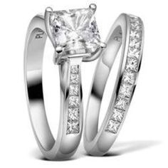 Engagement ring and wedding band. In love