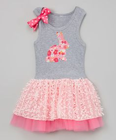 Love this Pink Bunny Floral Tutu Dress - Infant, Toddler & Girls on #zulily! #zulilyfinds