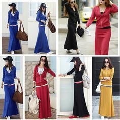 2013 Stylish New Women Sport Casual Slim Hooded Tops Two-Piece Long Dress,4 Size