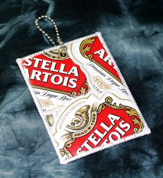 Mini Luggage Tag from Recycled Stella Artois Beer Labels by squigglechick on Etsy