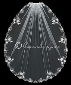 Wedding Veil with Silver Embroidery Flowers and Rhinestones from Cassandra Lynne