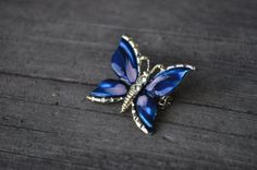 Blue and Purple Enamel Butterfly Brooch with Rhinestones