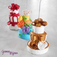 Mini Wedding cake in fimo: Bomboniera, Portafoto, Segnaposto, fatto a mano, by Gemini Jewels, 5,00 € su misshobby.com