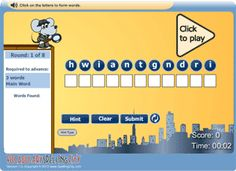 VSC WordFind is a fun way to study your spelling and vocabulary words while searching for new words. How many words can you make using the letters in each word on your list? The more words you find and the faster you find them, the higher your score will be! You may even be ranked on the high score table!