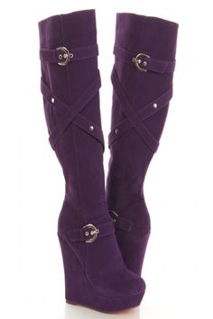 Purple Faux Suede Strappy Buckle Knee High Wedge Boots