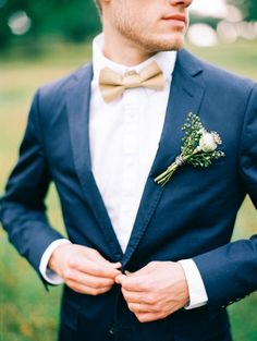 Groom in blue suit, beige / gold bow. Elegant and Organic Wedding Ideas. Photographer JARED TSENG.
