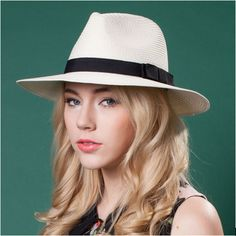 Summer straw hat for women bow hatband panama hats UV package