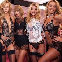 modelFIT's own #wcw crew @karliekloss @angelcandices @taylorswift @marhunt  last night #VSFashionShow looking  #modelfitbabes