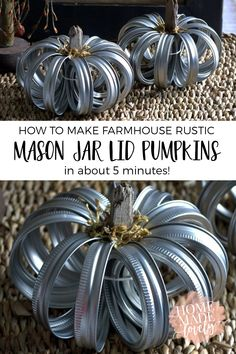 Mason jar lid pumpkins are the perfect little 5 minute craft to add some farmhouse style fall decor to your house! Mason jar lid pumpkins are the perfect little 5 minute craft to add some farmhouse style fall decor to your house! Pot Mason, Mason Jar Lids, Mason Jar Pumpkin, Mason Jar Art, Fall Mason Jars, Canning Lids, Mason Jar Projects, Mason Jar Crafts, Diy Projects
