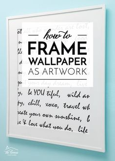 Not only is this one of the most budget-friendly and easy DIY artwork ideas you'll come across, but it's also a great way to use up wallpaper leftovers, scraps, and samples. Ready to make some art for your walls in about 5 minutes?!? Yep…it's that quick! Best Removable Wallpaper, Next Wallpaper, Framed Wallpaper, Wallpaper Ideas, Diy Craft Projects, Craft Tutorials, Diy Artwork, Artwork Ideas, Wallpaper Companies