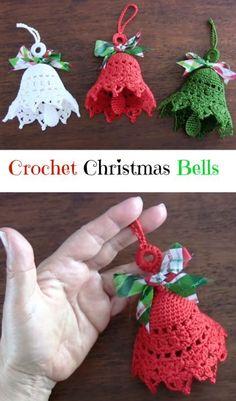 63 Super ideas for crochet christmas bells pattern free knitting Crochet Christmas Decorations, Christmas Crochet Patterns, Crochet Decoration, Crochet Ornaments, Crochet Snowflakes, Crochet Crafts, Crochet Projects, Free Crochet, Crochet Ideas