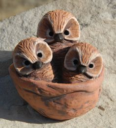 Sleeping baby Saw Whet Owls Sculpture by snoozes on Etsy https://www.etsy.com/listing/183612107/sleeping-baby-saw-whet-owls-sculpture