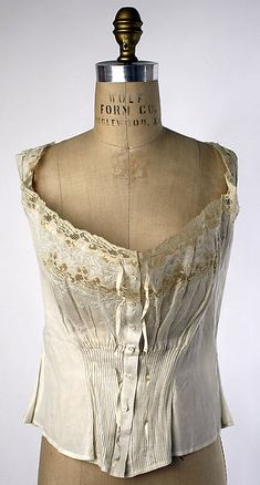 Corset cover, ca. 1910. Cotton. | French | The Met. Inspiration for Madeleine's corset cover.