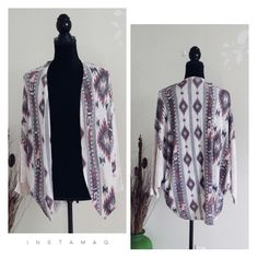 """Aztec kimono NWOT Brand new Aztec open cardigan,perfect for stylish spring. Made of polyester, rayon and spandex. Dolman  style sleeve. Full length about 29"""". NWOT Dainty hooligan Sweaters Cardigans"""