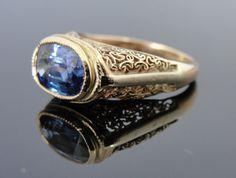 10 Karat Gold Filigree Art Nouveau Ring with Fine Sapphire Center RGSA380D