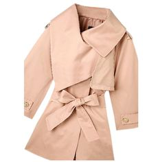 Cape Style Pink Trench Coat ❤ liked on Polyvore