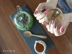 This morning's tea makes yesterday distant. Mint tea freshen up her day. Nail: Red marble style Meal: Fresh Mint Tea, Organic Raw Honey #DressUpYourNails #Manicure #Cafe #Nail #Nailart #notd #OnTheTableProject #FlatLay #Lifestyle #KotaKinabalu #Maniquremy