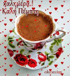 Coffee Vs Tea, Beautiful Pink Roses, Good Morning, Tea Cups, Tableware, Women, Greek Sayings, Merry Christmas Gif, Buen Dia
