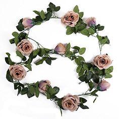 Luyue Lot de 2guirlandes de roses artificielles vintage en soie avec feuilles: Amazon.fr: Cuisine & Maison